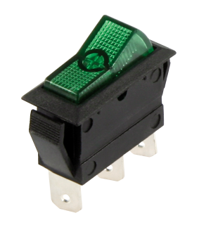 Car Switch, 3-pin<br> 12V / 20A, green,<br>2 positions: