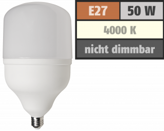 "LED Lampe McShine ""BIG50"" E27, 50W, 4600lm, 138x254mm, neutralweiß"