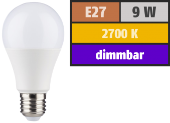 LED Glühlampe, E27, 9W, 806lm, 2700K, warmweiß, SWITCH DIM 100/55/15%