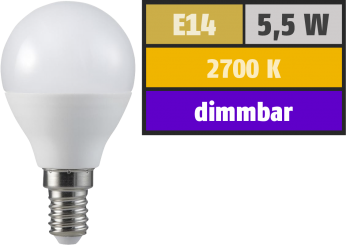 LED Tropfenlampe, E14, 5,5W, 470lm, 2700K, warmweiß, SWITCH DIM 100/55/15%