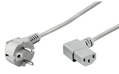 Netzkabel Schutzk.-Winkelstecker KG-Kupplung, 2m, 3x0,75mm², grau