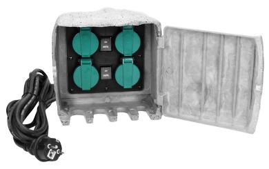 Außensteckdose 4-Fach, IP44, stein optik, 170x170x140mm, 3500W, 16A
