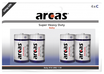 Baby-Batterie Super Heavy Duty 1,5V, Typ C/R14, 4er-Pack