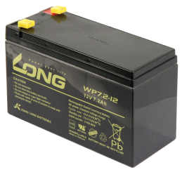 "Bleiakku KUNG LONG ""WP7,2-12"" 12V/7,2Ah, VdS, 151x65x102mm, 2,67kg"