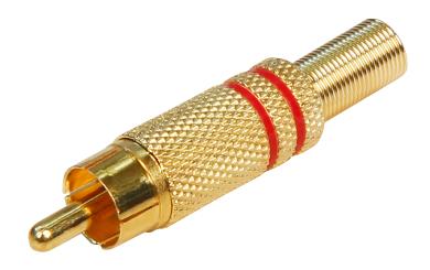 Cinch-Stecker HOLLYWOOD vergoldet mit Knickschutz, rot