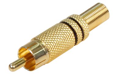 Cinch-Stecker HOLLYWOOD vergoldet mit Knickschutz, schwarz