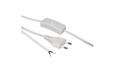 Euro-Netzkabel McPower mit Schnurschalter und blanken Enden, 2m, weiß