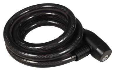 Fahrrad-Spiralkabelschloss, 15mm-Ø, 150cm lang, Schwarz