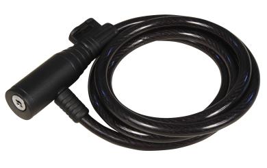 Fahrrad-Spiralkabelschloss, 8mm-Ø, 150cm lang, schwarz