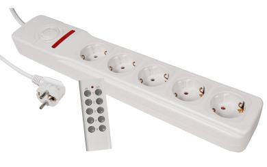Funk-Steckdosenleiste McPower, 5-fach mit Fernbedienung, einzeln steuerbar