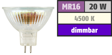 Halogen-Spiegellampe McShine, MR16, Neutralweiß, 50mm Ø, 12V/20W, 36° Flood
