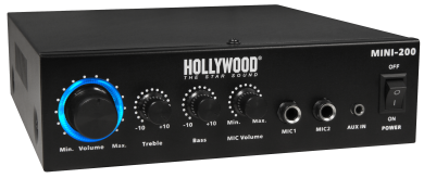 "HiFi-Verstärker HOLLYWOOD ""Mini-200"" 100W, Bluetooth, 1x Line In, 230V oder 12V"