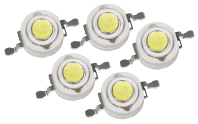 High Power LED Bauteil, 5er Set, 1W, tageslichtweiß