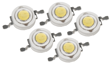 High Power LED Bauteil, 5er Set, 1W, warmweiß