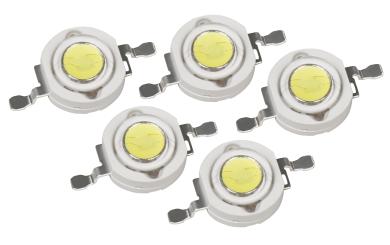 High Power LED Bauteil, 5er Set, 3W, tageslichtweiß