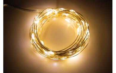 "LED Draht-Lichterkette McShine ""Micro"" 80 LEDs, warmweiß, Batteriebetrieb"