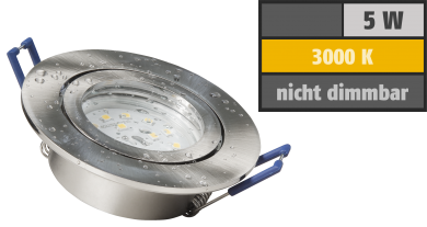 "LED-Einbauleuchte McShine ""Flatty"" Ø83mm, 5W, 400lm, warmweiß, IP44"