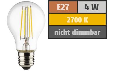 LED Filament Glühlampe, E27, 4W, 470lm, 2700K, warmweiß