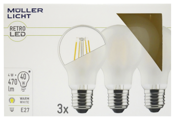 LED Filament Glühlampe, E27, 4W, 470lm, 2700K, warmweiß, matt, 3er Set