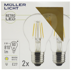 LED Filament Glühlampe, E27, 6W, 810lm, 2700K, warmweiß, 2er Set