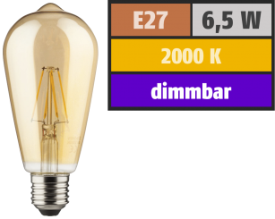LED Filament Glühlampe, E27 / ST64, 6,5W, 690lm, 2000K, warmweiß, dimmbar, gold