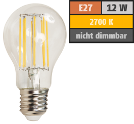 "LED Filament Glühlampe McShine ""Filed"", E27, 12W, 1500lm, warmweiß, klar"