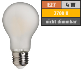 "LED Filament Glühlampe McShine ""Filed"", E27, 4W, 420 lm, warmweiß, matt"