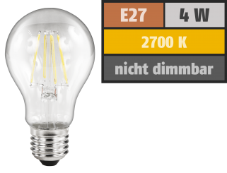 "LED Filament Glühlampe McShine ""Filed"", E27, 4W, 470lm, warmweiß, klar"