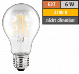 "LED Filament Glühlampe McShine ""Filed"", E27, 6W, 600 lm, warmweiß, klar"