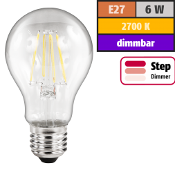 "LED Filament Glühlampe McShine ""Filed"", E27, 6W, 630lm, warmweiß, step-dimmbar"