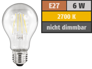 "LED Filament Glühlampe McShine ""Filed"", E27, 6W, 630 lm, warmweiß"