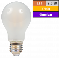 "LED Filament Glühlampe McShine ""Filed"", E27, 7,5W, 720 lm, warmweiß, dimmbar, matt"