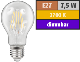 "LED Filament Glühlampe McShine ""Filed"", E27, 7,5W, 800 lm, warmweiß, dimmbar, klar"