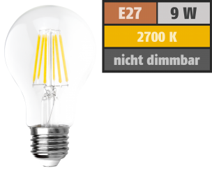"LED Filament Glühlampe McShine ""Filed"", E27, 9W, 1055 lm, warmweiß, klar"