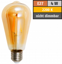 "LED Filament Glühlampe McShine ""Retro"" E27, 4W, 400lm, warmweiß, goldenes Glas"