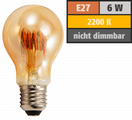 "LED Filament Glühlampe McShine ""Retro"" E27, 6W, 420lm, warmweiß, goldenes Glas"
