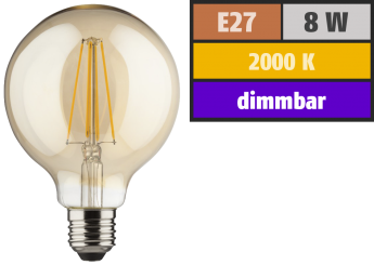 LED Filament Globelampe, E27, 8W, 900lm, 2000K, warmweiß, dimmbar, gold