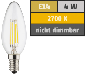LED Filament Kerzenlampe, E14, 4W, 470lm, 2700K, warmweiß