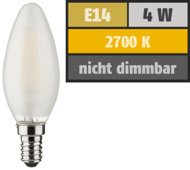 LED Filament Kerzenlampe, E14, 4W, 470lm, 2700K, warmweiß, matt