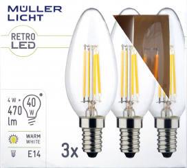 LED Filament Kerzenlampe, E14, 4W, 470lm, 2700K, warmweiß, 3er Set