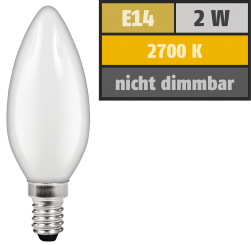 "LED Filament Kerzenlampe McShine ""Filed"", E14, 2W, 180 lm, warmweiß, matt"