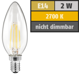 "LED Filament Kerzenlampe McShine ""Filed"", E14, 2W, 200 lm, warmweiß, klar"