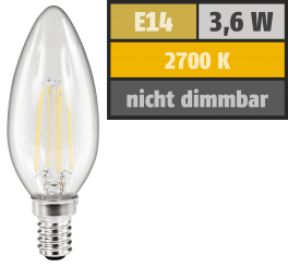 "LED Filament Kerzenlampe McShine ""Filed"", E14, 3,6W, 360 lm, warmweiß, klar"