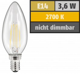 "LED Filament Kerzenlampe McShine ""Filed"", E14, 4W, 360 lm, warmweiß, klar"