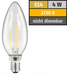 "LED Filament Kerzenlampe McShine ""Filed"", E14, 4W, 470 lm, warmweiß, klar"