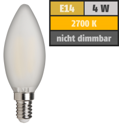 "LED Filament Kerzenlampe McShine ""Filed"", E14, 4W, 370 lm, warmweiß, matt"