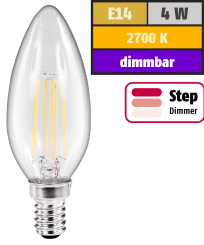 "LED Filament Kerzenlampe McShine ""Filed"", E14, 4W, 440lm, warmweiß, step-dimmbar"