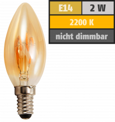 "LED Filament Kerzenlampe McShine ""Retro"" E14, 2W, 150lm, warmweiß, goldenes Glas"