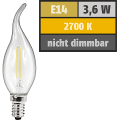 LED Filament Kerzenlampe Windstoß McShine, E14, 3,6W, 360 lm, warmweiß, klar