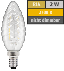 "LED Filament Kerzenlampe gedreht McShine ""Filed"", E14, 2W, 200 lm, warmweiß, klar"